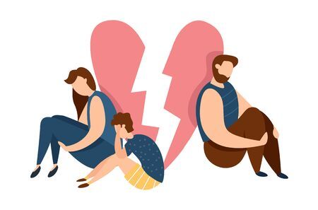 Vector concept of family conflict or relationship problem. Broken marriage. Conflicts between husband and wife with children. Breaking up people. Family quarrel. Children depression and sadness Çizim