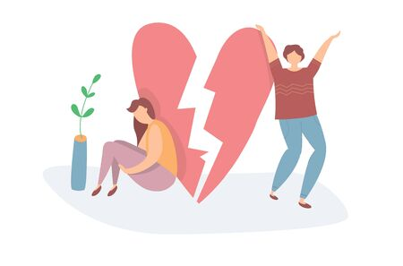 Vector illustration of Heartbroken Couple Parting. Sad woman and happy man. End of love and an abusive relationship Çizim