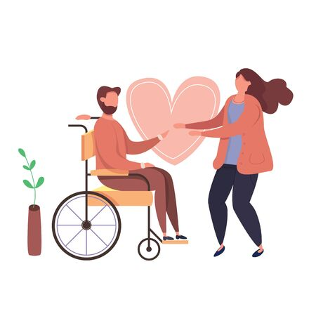 Concept of romantic relationships and marriage with handicapped man. Vector illustration of love. Family with disabled man. Human relations vector illustration. Man in wheelchair. Illustration