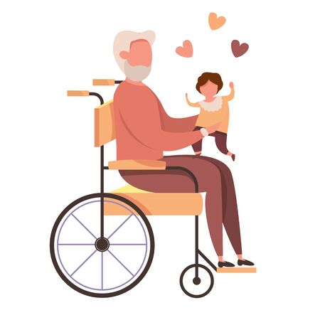 Modern vector illustration of happy cute grandfather in wheelchair with kid. Disabled old man holding a baby in his arms. Family love concept  イラスト・ベクター素材