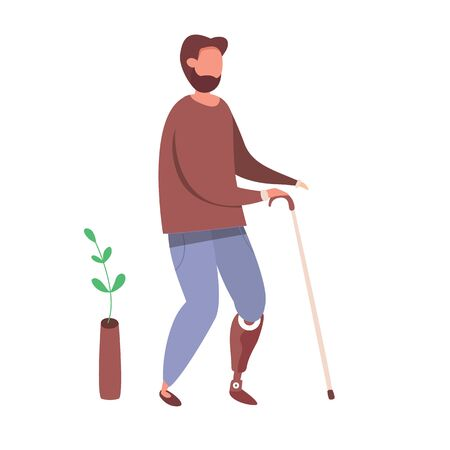 Modern vector illustration of Man with prosthetic leg. People with disabilities and healthy lifestyle concept. Handicapped man. Vettoriali