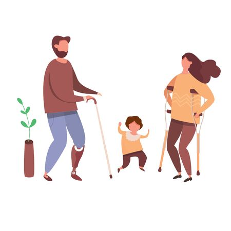 Concept of romantic relationships and marriage with handicapped people. Loving couple of handicapped man and woman with children. Human relations vector illustration.