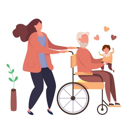 Modern vector illustration of happy family. Daughter with handicappem grandfather in wheelchair with kid on hands. Woman with disabled old man holding a baby in his arms. Family love concept