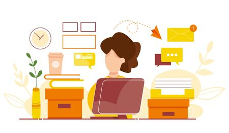 Modern vector illustration of working at home. Woman work in comfortable conditions. Home office. Freelancer with cat, plant. Epidemic quarantine. Self employed concept. Businessman with laptop.