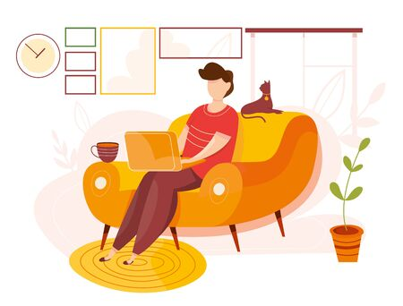 Modern vector illustration of working at home. Man work in comfortable conditions. Home office. Freelancer with cat, plant. Epidemic quarantine. Self employed concept. Businessman with laptop.
