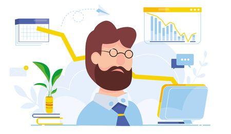Modern vector illustration of financial analyst. financial crisis Oil price drop. Collapse of the economy. Bankruptcy Down arrow stocks graph. Economy stock market crash down. Depression losing money