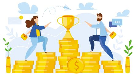 Modern vector illustration of business competition. Corporate conflict. Woman and man run to cup. Upstairs to win. Move to leadership, success, awards. For web site. banner, application