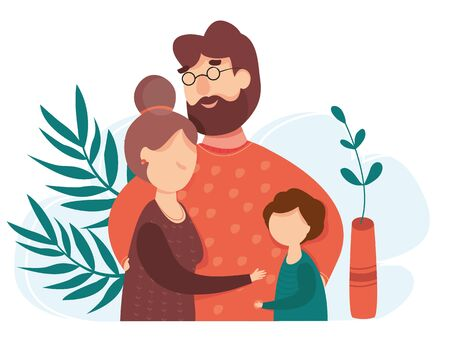 Modern vector illustration of cute happy family. Parents and children in love. Dad hugs mom and kid. Family day. Isolated on white background. Parenthood.