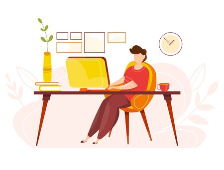 Modern vector illustration of working at home. Man work in comfortable conditions. Home office. Freelancer with cat, plant. Epidemic quarantine. Self employed concept. Businessman with laptop