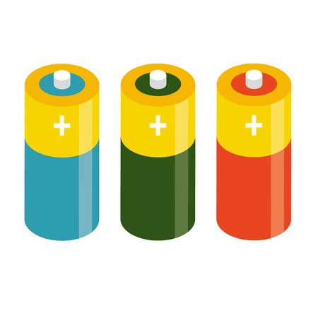 Vector set of battery. Electricity charge technology. Energy concept. Set of accumulator alkaline battery