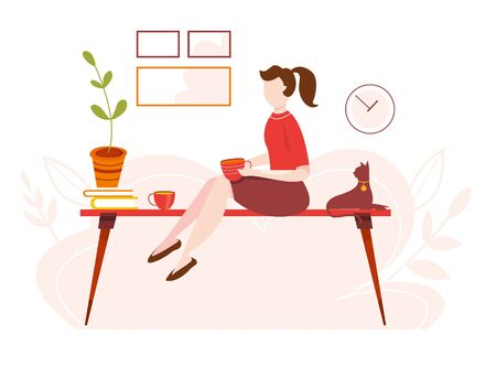 Modern vector illustration of working at home. Woman work in comfortable conditions. Home office. Freelancer with cat, plant. Epidemic quarantine. Self employed concept. Businessman with laptop