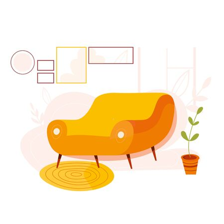 Vector illustration of comfortable sofa in interiors. Luxury couch for apartment