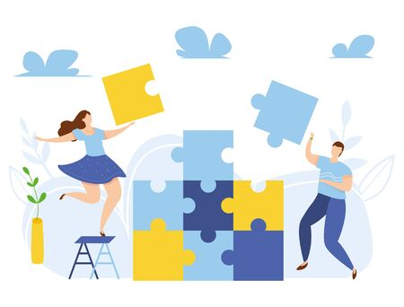 Modern vector illustration of teamwork. Business concept of team metaphor. Business partnership. Brainstorm. Searching for new ideas solutions. People prepare to new business start up Ilustrace