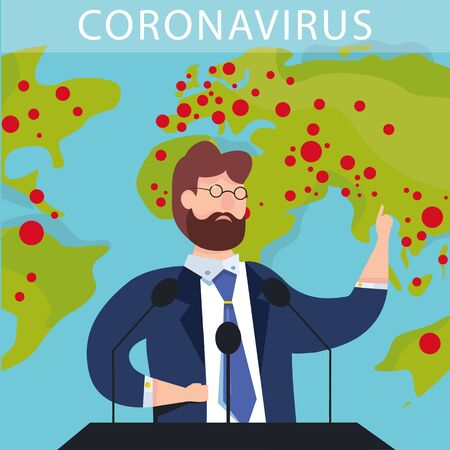 Vector illustration of breaking news. Epidemic Coronavirus COVID-19 spread in the world. politicians and doctors talks about news in the world. Live streaming. Broadcast. Global worlds infections