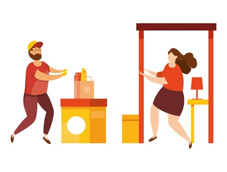 Vector illustration of delivery service concept. Fast and free delivery. Mobile app. Safety contactless delivery during quarantine. Courier delivered the order to the home or to the office. 일러스트