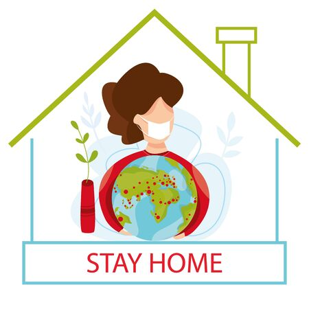 Vector illustration of self quarantine. People at home. Stay at home concept. Epidemic prevention. Fears of getting COVID-19 coronavirus. social media campaign of pandemic control. Virus.