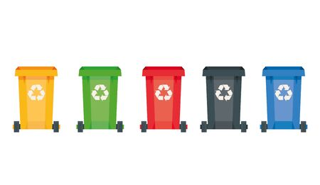 Modern vector illustration of colored rubbish containers for separate sorting of garbage. Bin for recycling different types of waste 일러스트