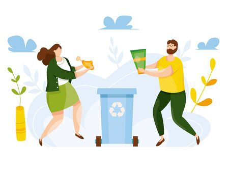 Modern vector illustration of cute people putting rubbish in trash bin. People sorting each type of garbage into the trash. Environmental protection. Ecology concept. Waste separation. Recycle