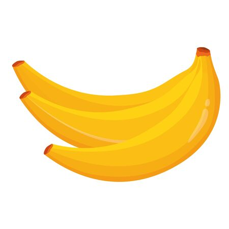 Bunch of fresh bananas vector illustration. Isolated on white background. Healthy food concept. Yellow banana icon. Иллюстрация