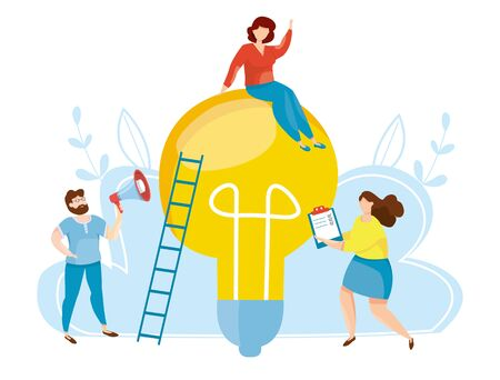 Concept of the emergence of a new idea. Brainstorm. New ideas solution. Social media and business services. Teamwork, cooperation, partnership. Financial success vector illustration.