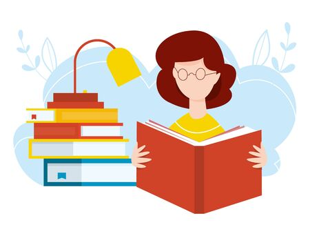 Girl sitting with stacks of books with open book in her hands. Vector illustration. Concept of earning, distance studying and self education. Online library. Remote home education.