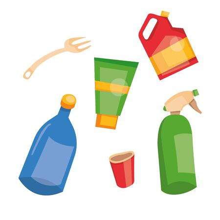 Vector illustration of recycling plastic garbage. Set of used plastic cans, bottle, canister. Sorted trash. Garbage separate