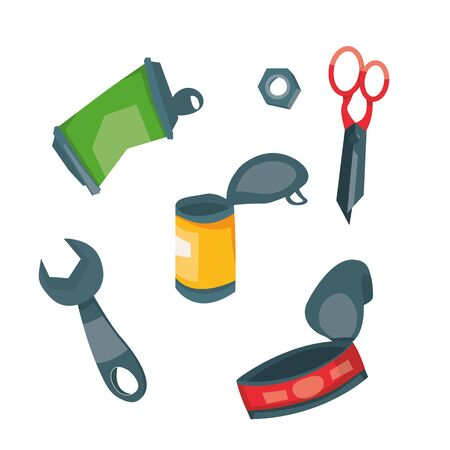Vector illustration of recycling metal garbage. Set of tin can, wrench, scissors, nut. Sorted trash. Garbage separate.