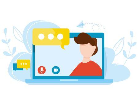 Vector concept of online education. Distance learning. Teacher on laptop explains a distance online lesson. Concept of self education. Graduation and web courses. Internet webinar.