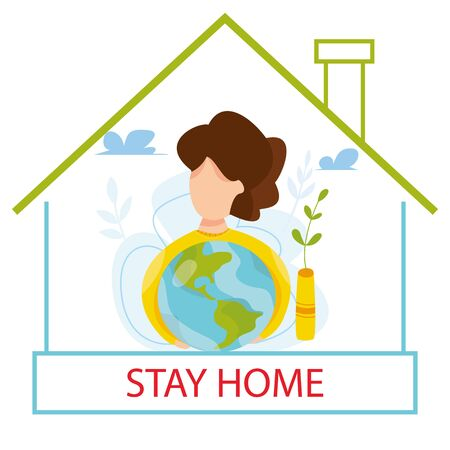Vector illustration of self quarantine. People at home. Stay at home concept. Epidemic prevention. Fears of getting COVID-19 coronavirus. social media campaign of pandemic control. Virus 일러스트
