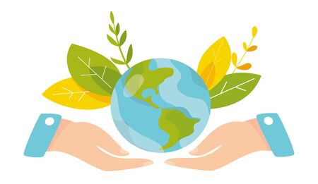 Ecology concept. People take care about planet ecology. Protect nature and ecology banner. Earth day. Earth globe in hands. Vector illustration