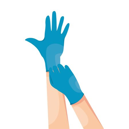 Human hands wearing blue latex medical gloves. Infection and virus protection. Coronavirus COVID-19 prevention. Vector illustration isolated on white background. 일러스트