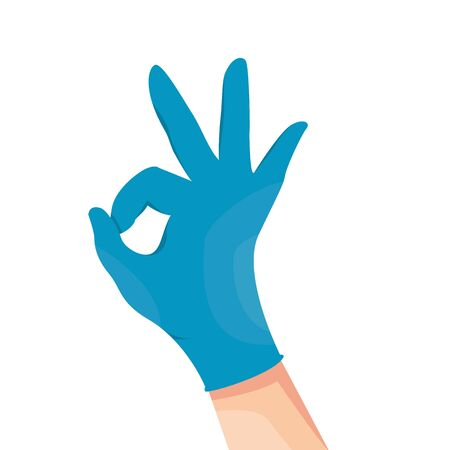 Human hand in blue latex medical glove shows okay symbol. Vector illustration, isolated on white background. Okay sign.