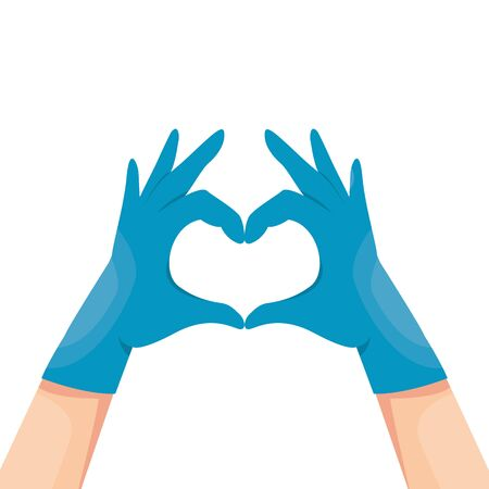 Human hands in blue latex medical gloves show a heart symbol vector illustration. Doctors thanks concept. Isolated on white background. Arms in the form of heart.