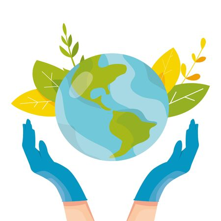 Safety concept. Medical people take care about planet. Human hands in blue latex gloves hold planet Earth globe vector illustration. Doctors save our planet from viruses and infections 일러스트