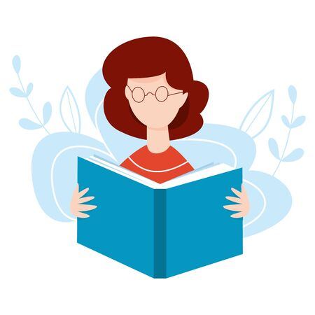 Girl with open book in her hands. Woman reading a book. Online learning concept. Home education vector illustration. Internet education, training, e-learning concept.