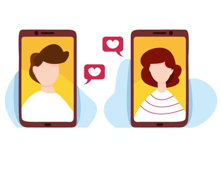 Online chatting and messaging vector illustration. Online dating service application. Communication and relationship. Social media concept. Man and woman talking by communication app. 일러스트