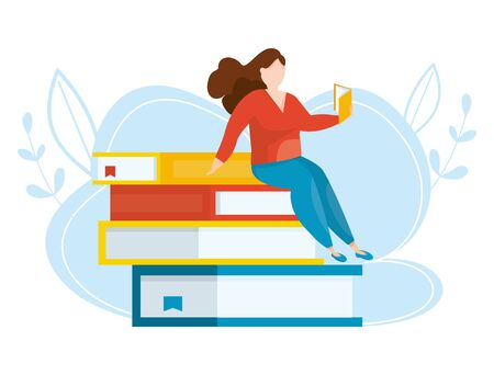 Girl sitting on stacks of books with open book in her hands. Vector illustration. Concept of earning, distance studying and self education. Online library. Remote home education.