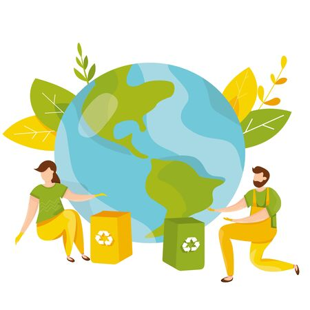 Ecology concept. People take care about planet ecology. Protect nature and ecology banner. Earth day. Globe with trees, plants and volunteer people. Vector illustration 일러스트