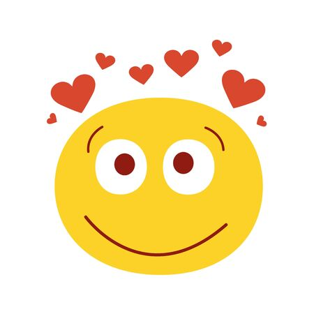 Smiling in love emoji vector illustration. Isolated on white background. Happy emotion face. Cute smiling face with hearts. 일러스트