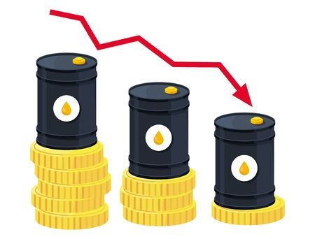 Oil price drop. Falling barrels. illustration of oil companies crisis vector. Petroleum industry concept.