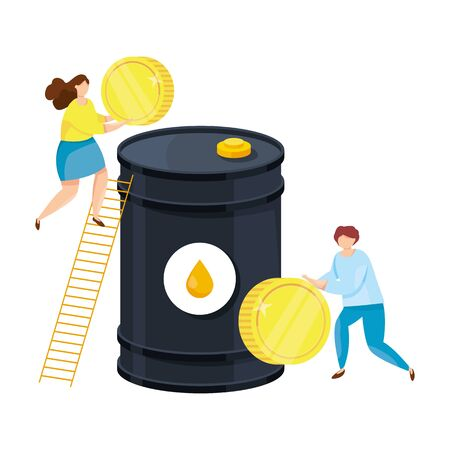 Oil investments. Young businessmen are investing in the oil industry. Buying a barrel of oil. Investment concept vector illustration. Man and woman throw money in a barrel.