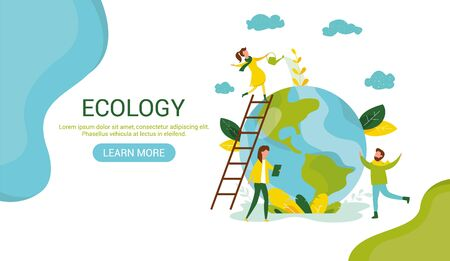 Ecology concept. People take care about planet ecology. Protect nature and ecology banner. Earth day Globe with trees plants and volunteer. Vector illustration. Web template for internet sites header 일러스트