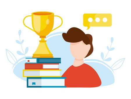 Excellent student. outstanding student. Power of education. Young boy with winner cup standing on stack of books. Vector illustration. 일러스트