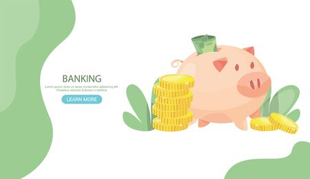 Banking deposit vector illustration. Money Savings concept. Piggy bank with coins inside Cash protection. Finance saving banner. Money investment. Bank cell vector illustration. Web site banner Header