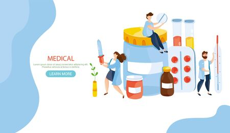 Modern vector illustration of cute doctors with thermometer, pills, drugs, tube, flu vaccine. Medicament Treatment and Health Care. Healthcare concept. Epidemic. Pandemia. Viruses. Web site banner.