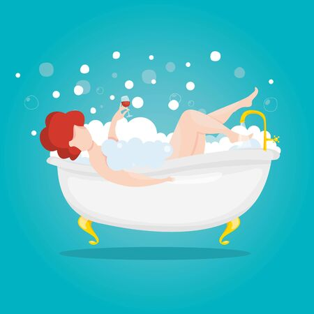Woman with a glass of wine takes a bath. Rest after a hard day. Young girl relaxing in bathroom. Cosmetic and spa procedures. Vector illustration. 일러스트