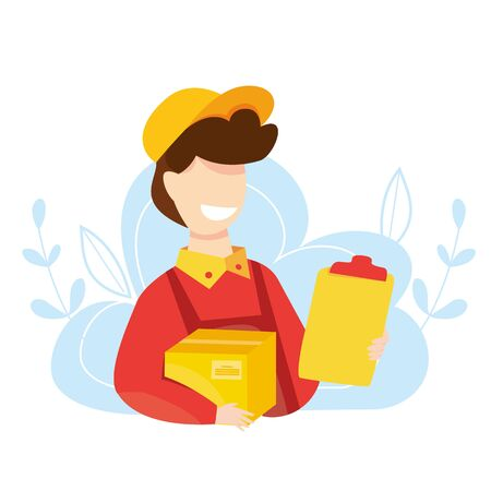 Courier express delivery. Delivery boy with parcel. Fast and free order delivery. Young man with large box package from online store. Vector illustration.