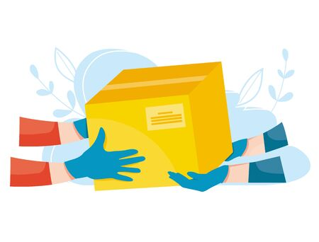 Package delivery in medical latex gloves. Fast express delivery during the epidemic. Safe delivery of parcel. Vector illustration.