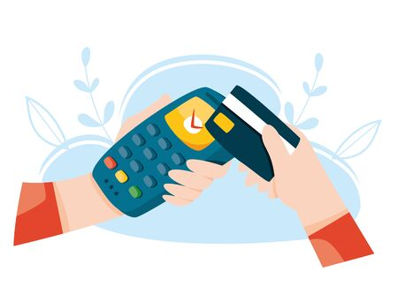 Contactless payment by credit card. Pos terminal. Wireless mobile payment. Nfc concept. Online banking vector illustration. 일러스트