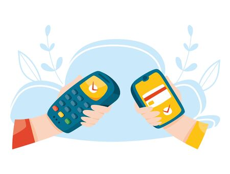 Contactless payment by phone. Pos terminal. Wireless mobile payment. Nfc concept. Online banking vector illustration. 일러스트